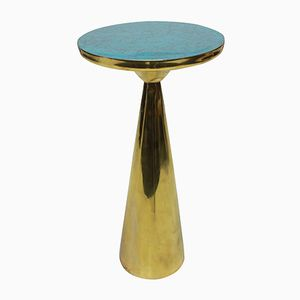 Vintage Brass & Enamel Side Table, 1980s