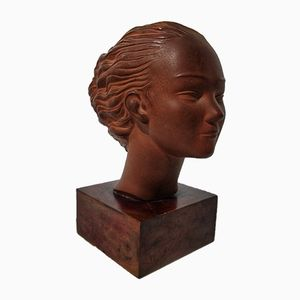 Busto Il Vento Art Déco in terracotta di Heribert Mosen Casany, anni '30