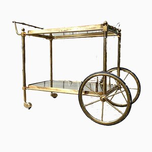 French Brass & Glass Bar Cart Serving Trolley, 1950s