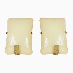 Glass and Brass Sconces, 1950s, Set of 2