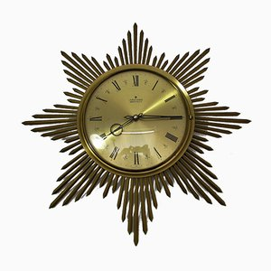 Brass Sunburst Clock from Junghans, 1960s