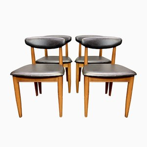 Vintage Black Vinyl Dining Chairs, 1960s, Set of 4