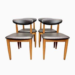 Vintage Esszimmerstühle aus schwarzem Vinyl, 1960er, 4er Set