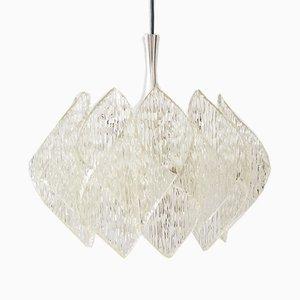Lámpara colgante de vidrio efecto hielo, años 60