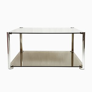 Smoked & Chrome Plated Glass Coffee Table, 1960s