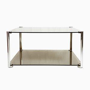 Tavolino da caffè in vetro fumé e metallo cromato, anni '60