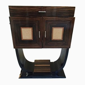 Art Deco Macassar and Maple Bar Cabinet