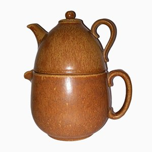 Swedish Brown Stoneware Dual Teapot by Gunnar Nylund for Rörstrand, 1950s