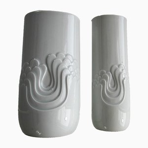 Jarrones Op-Art de cerámica de Tapio Wirkkala para Rosenthal, años 60