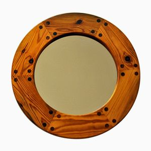 Round Swedish Pine Mirror by Uno & Östen Kristiansson for Luxus, 1950s
