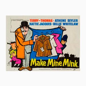 Poster vintage del film Make Mine Mink, anni '60