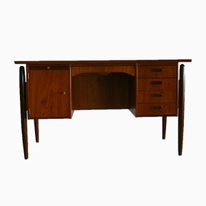 Danish Teak Ladies Desk with Curved Front and Back & Suspended Legs, 1960s