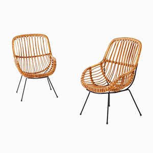 Italian Rattan & Wicker Armchairs, 1950s, Set of 2