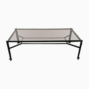 Vintage Glass and Hammered Metal Coffee Table