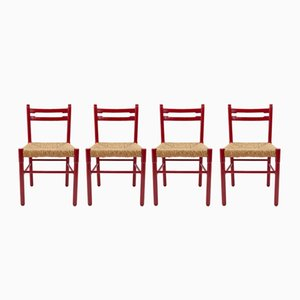 Chaises de Salon Rouges avec Assises en Rotin, 1964, Set de 4
