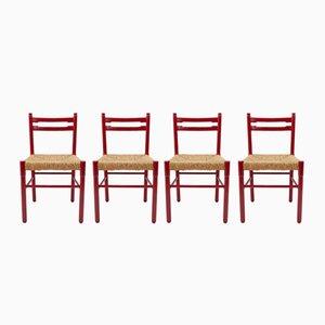 Sillas de comedor rojas con asientos de ratán, 1964. Juego de 4