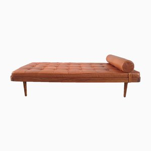 Danish Teak & Cognac Leather Daybed from Horsnaes Møbler, 1956