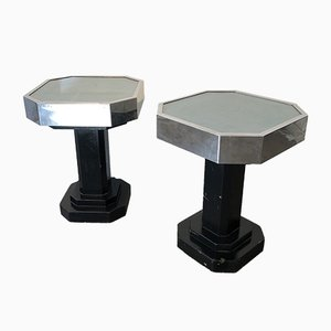 Ash, Metal & Glass Pedestal Tables, 1930s, Set of 2