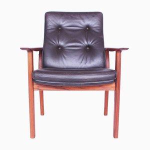 Sedia in teak e pelle marrone di Arne Vodder per Sibast, 1968
