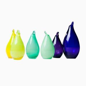 Vases Vintage en Forme de Poire par Ingeborg Lundin pour Orrefors, Set de 6