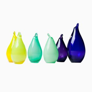 Vintage Pear-Shaped Vases by Ingeborg Lundin for Orrefors, Set of 6