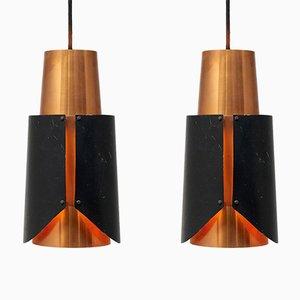 Lámparas colgantes Østerport de Bent Karlby para Lyfa, años 60. Juego de 2