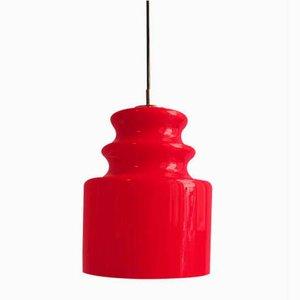 Lampe à Suspension en Verre Opalin Rouge de Peill & Putzler, 1960s