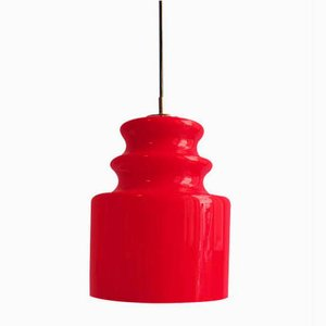 Red Opalescent Glass Pendant Lamp from Peill & Putzler, 1960s
