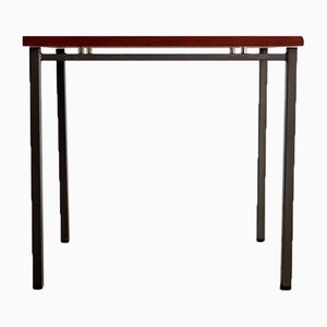 Tavolino minimalista in teak e metallo, anni '70
