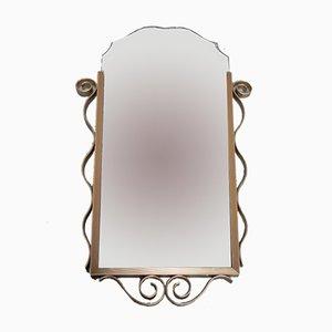 Specchio sfaccettato vintage con cornice in alluminio