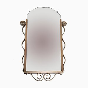 Vintage Faceted Mirror with Aluminum Frame
