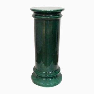 Mid-Century Green Faience Plant Stand, 1950s
