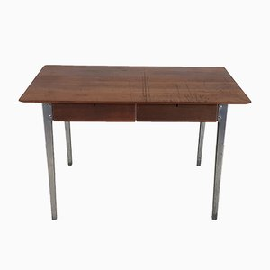 Vintage Industrial ESA 6212 Teak & Aluminium Desk by James Leonard for ESA, 1950s