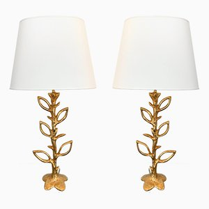 French Floral Gilt Bronze Lamps by Stephane Galerneau, 1990s, Set of 2