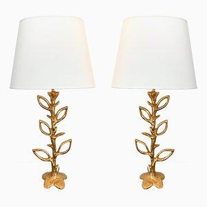 Lámparas francesas florales de bronce dorado de Stephane Galerneau, años 90. Juego de 2