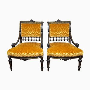 Antique French Ladies Armchair, 1860s, Set of 2