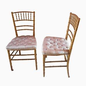 Sedie antiche in legno dorato, set di 2