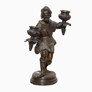 19th Bronze Candleholder