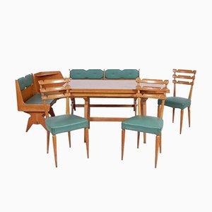 Wood & Green Skai Dining Set, 1950s
