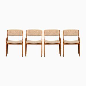 Dänische Stühle aus Teak & Wolle, 1960er, 4er Set
