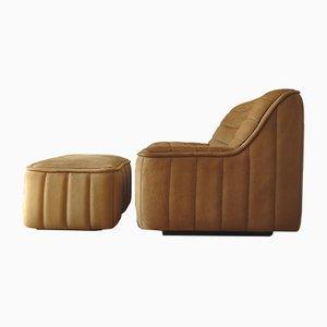 Vintage DS-84 Sessel aus Büfellleder + Fußhocker von de Sede, 1970er