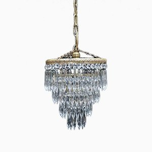 Italian Art Deco 4-Tier Crystal Glass Chandelier, 1930s