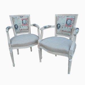 Chaises Vintage en Lin, 1940s, Set de 2