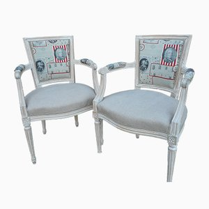 Vintage Linen Chairs, 1940s, Set of 2