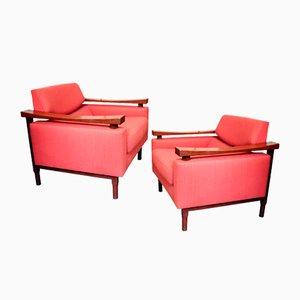 Solid Teak Armchairs, 1960s, Set of 2