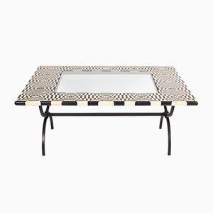 Tisch in Schwarz & Weiß mit Marmorplatte, 1980er