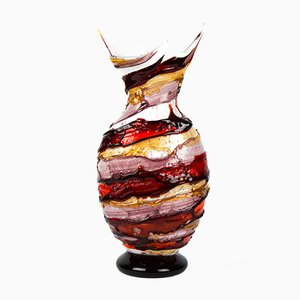 Sbruffo Technique Glass Vase by Imperio Rossi for Made Murano Glass, 2019