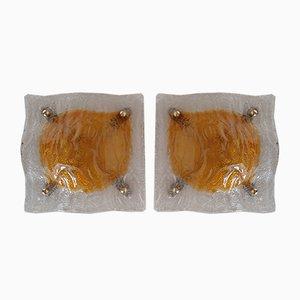 Applique da parete in vetro di Murano, anni '60, set di 2