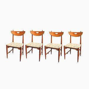 Scandinavian Panga Panga Wood Dining Chairs, 1950s, Set of 4