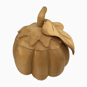 Vintage Hand Carved Pumpkin Ice Bucket by Alfonso Bini